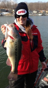 Michaela with a bass she caught while pre-fishing Lake of the Ozarks.