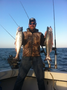Chris with a few of the fish he caught on Lake Ontario.