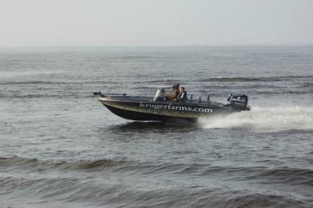 Korey on the water during the Masters Walleye Circuit Event.