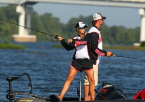 Michaela (fishing here at the BASS National Championship) attributes her love of fishing to starting at a young age.